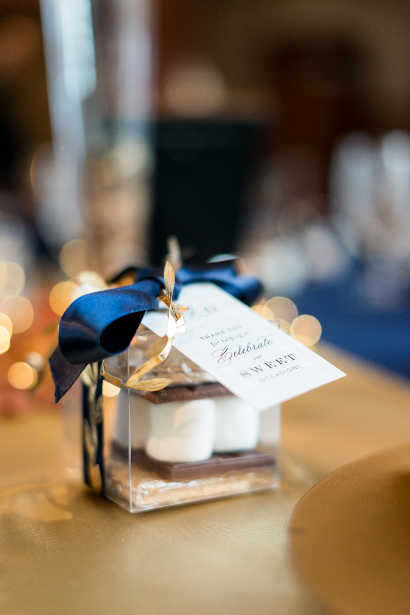 Gold, Blue, and Burgundy Fall Wedding | S'mores wedding favor