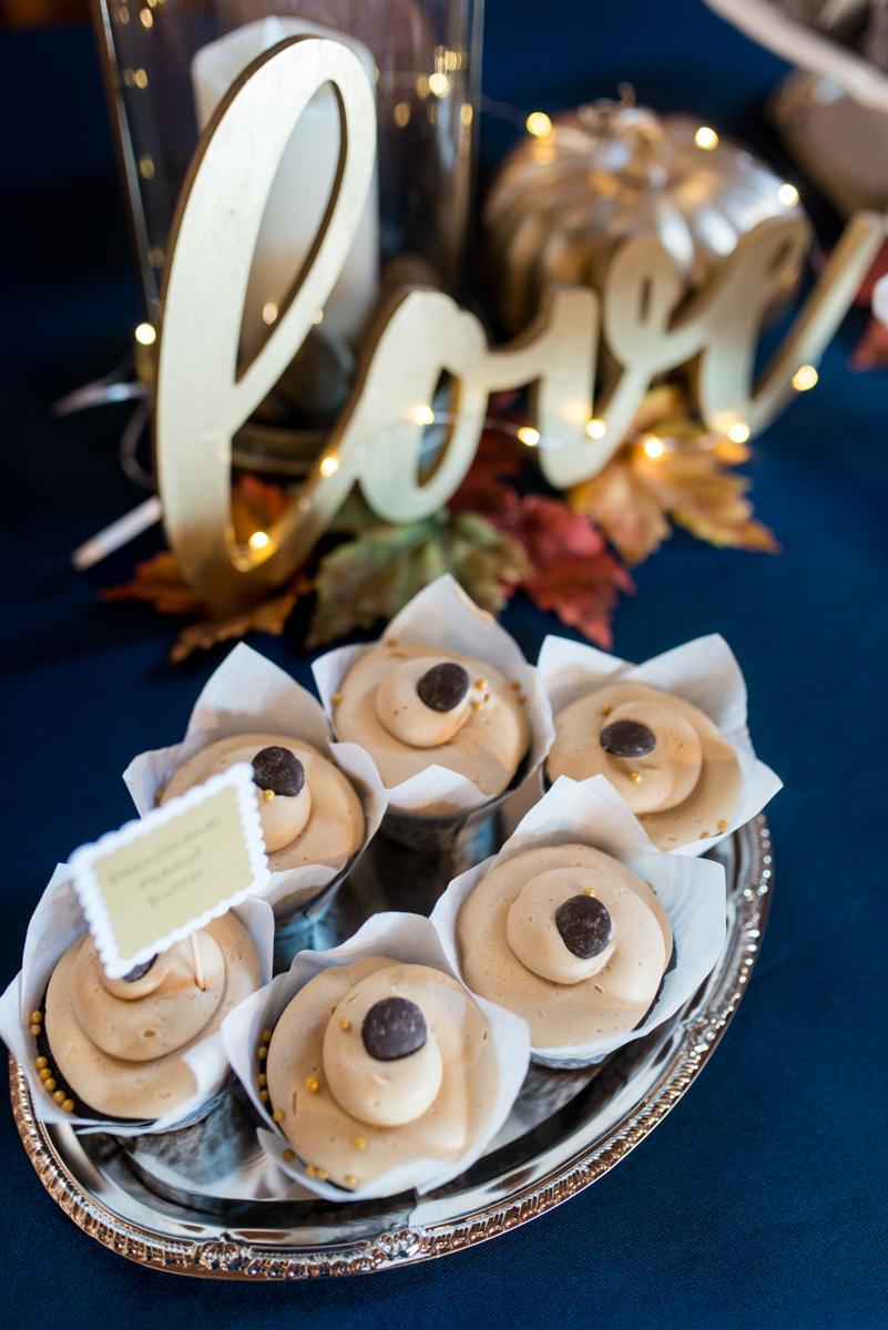 Gold, Blue, and Burgundy Fall Wedding | Wedding dessert bar
