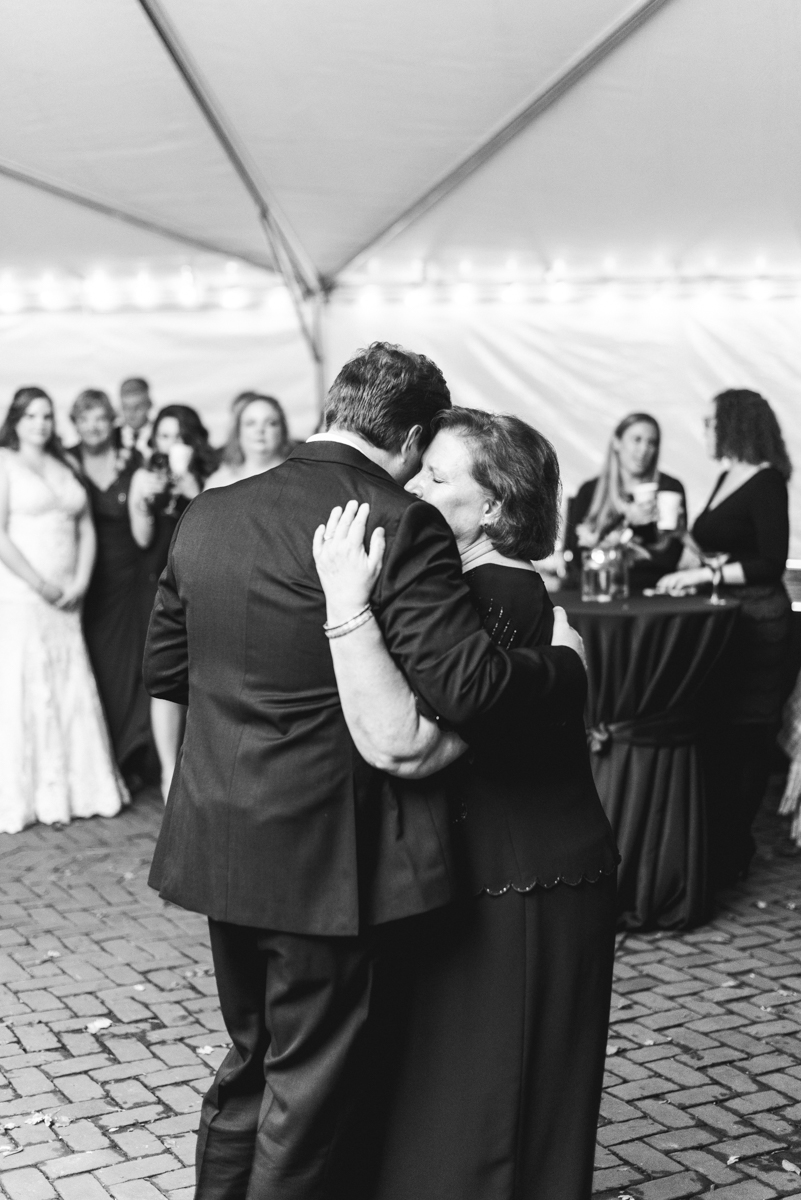 Gold, Blue, and Burgundy Fall Wedding | Mother and son first dance