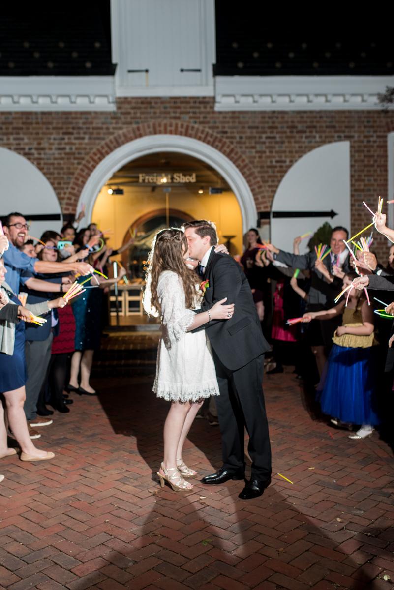 Gold, Blue, and Burgundy Fall Wedding | Wedding glow stick exit