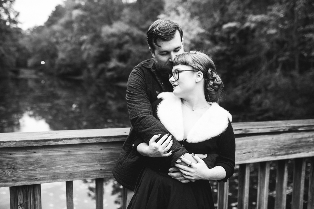 Romantic Fall Black and White Engagement Pictures