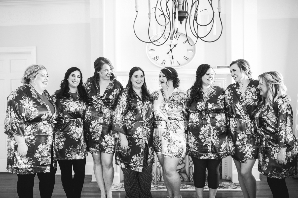 Burgundy and Pale Blue Winter Wedding | Bridesmaid matching robes
