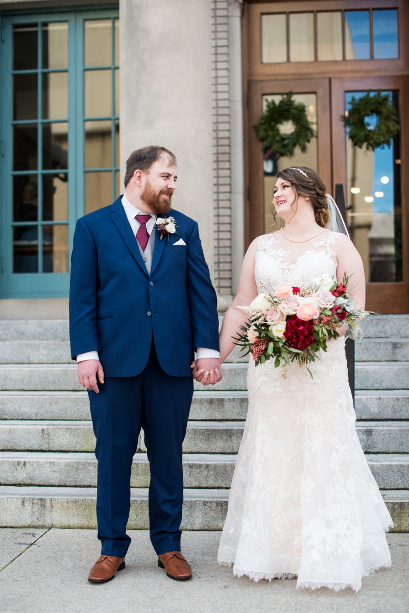 Burgundy and Pale Blue Winter Wedding | Bride + groom portraits