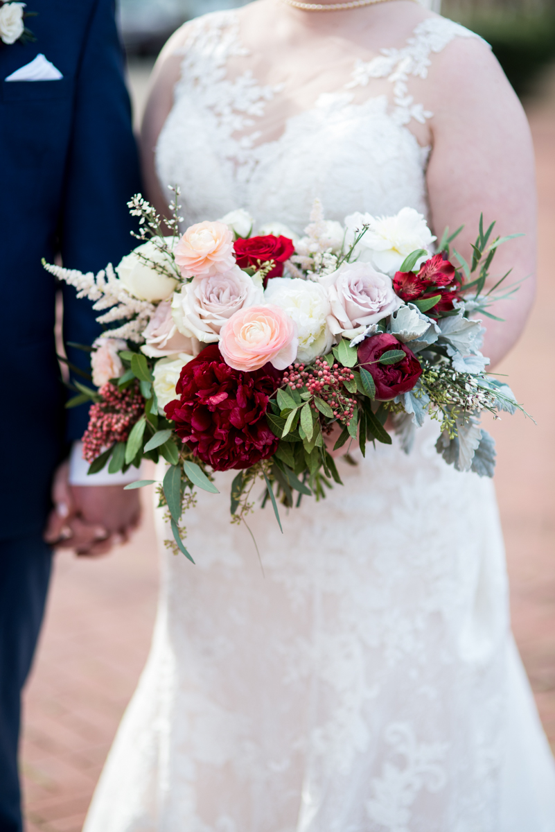 Burgundy and Pale Blue Winter Wedding | Burgundy, blush, and white winter bouquet