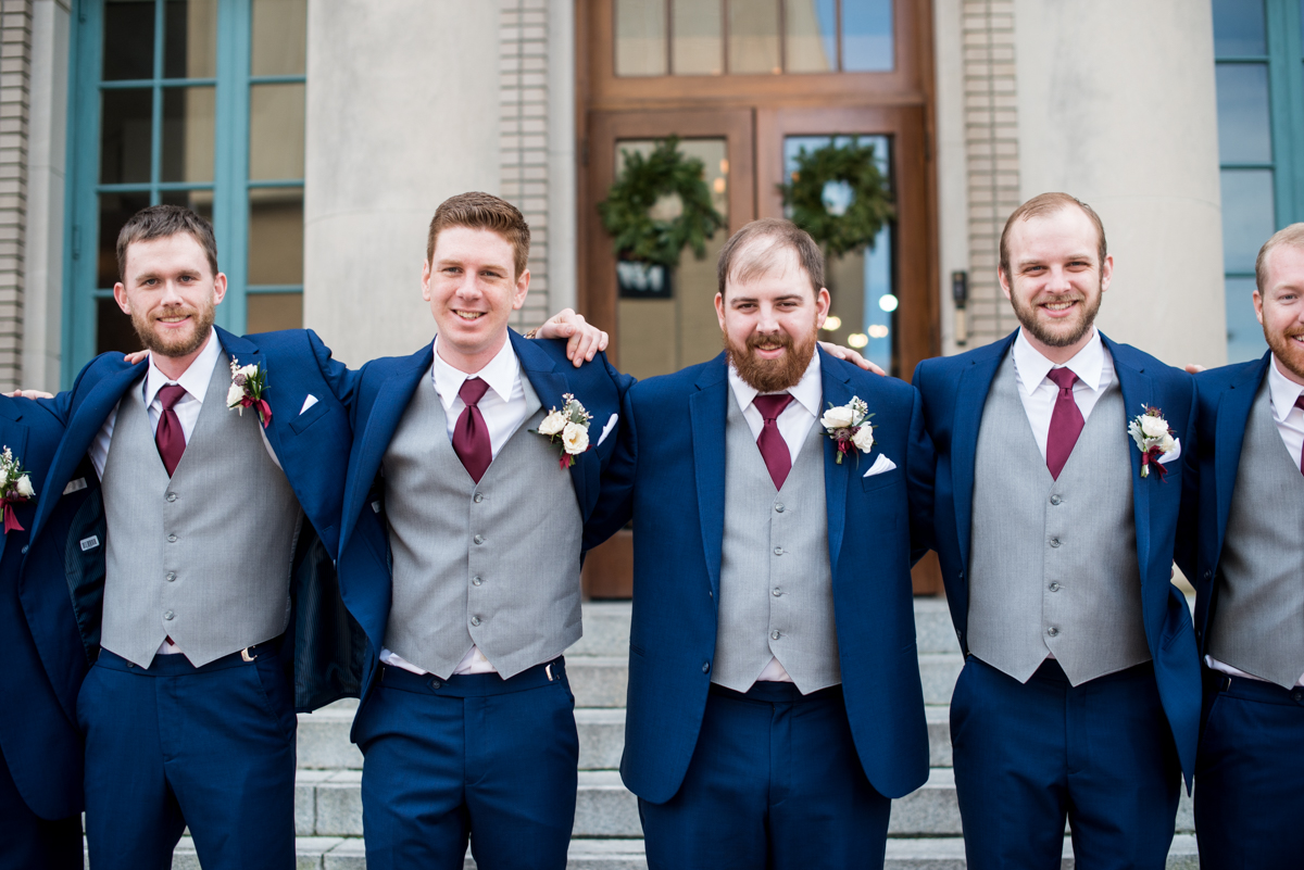 Burgundy and Pale Blue Winter Wedding | Navy and burgundy groomsmen