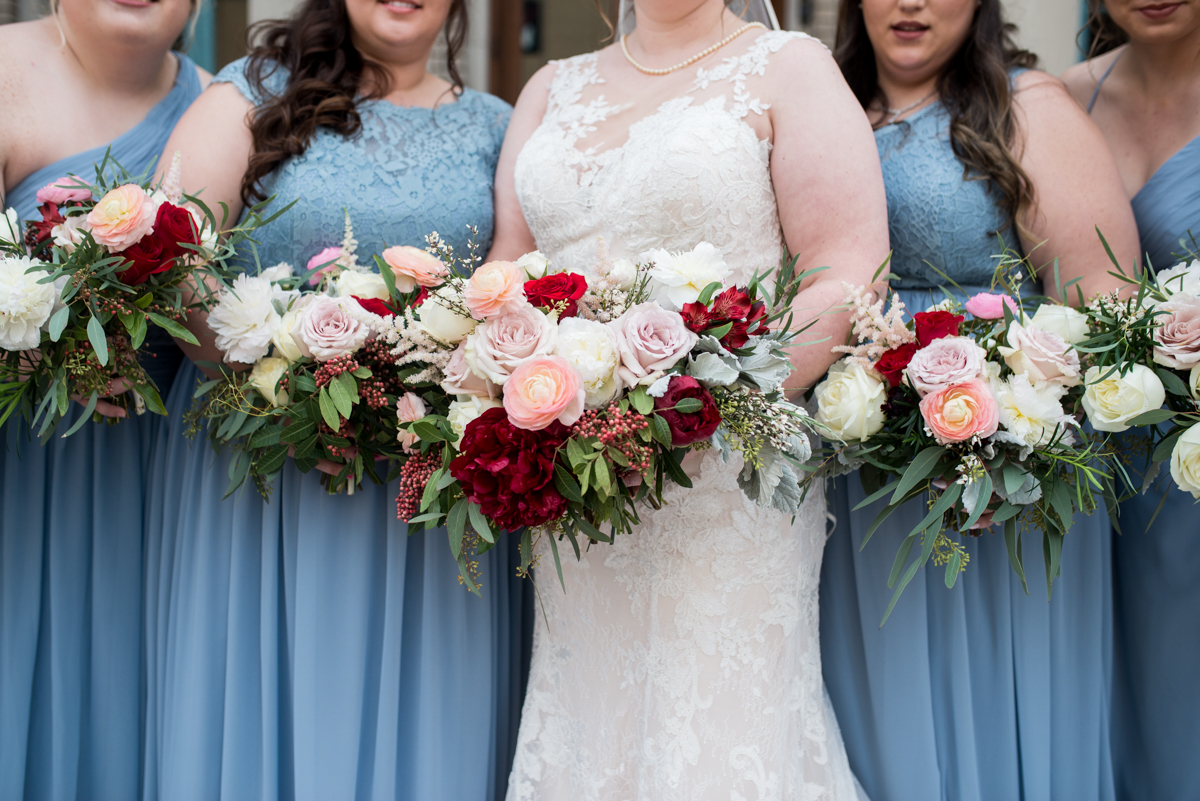 Burgundy and Pale Blue Winter Wedding | Burgundy, blush, and white winter bouquets