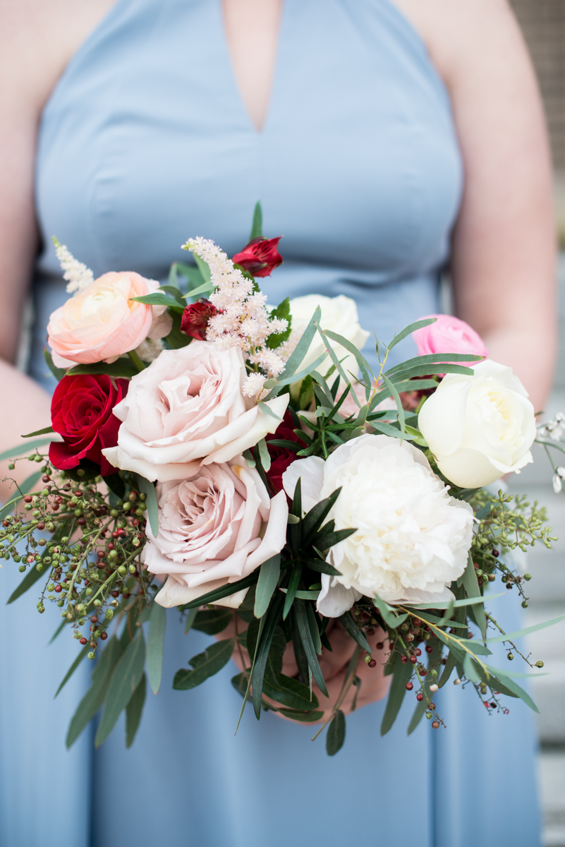 Burgundy and Pale Blue Winter Wedding | White and blush greenery winter bouquet