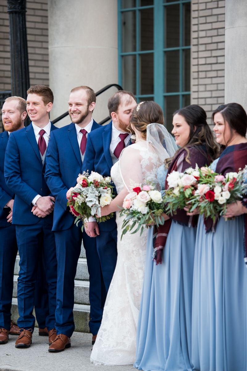 Burgundy and Pale Blue Winter Wedding | Winter bridal party pictures