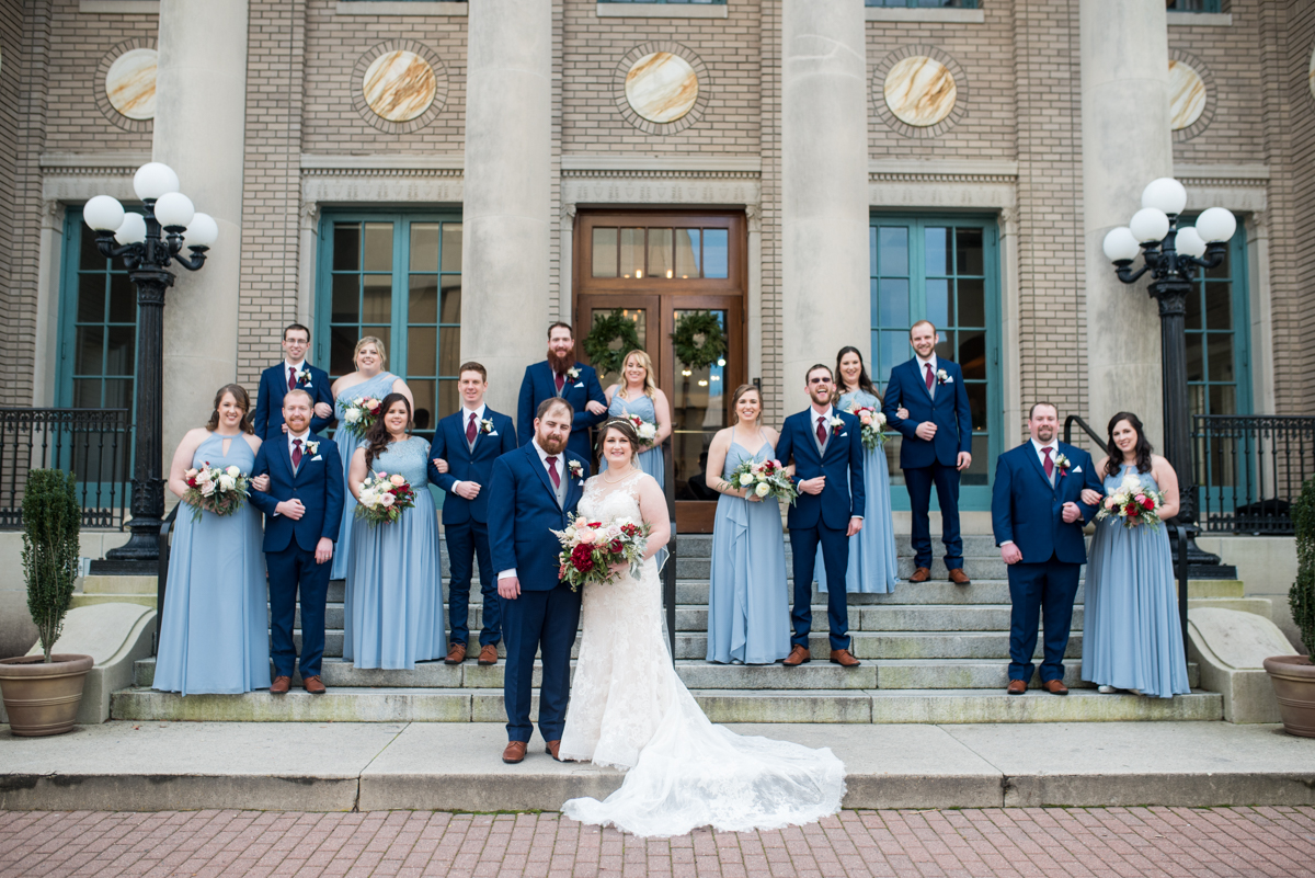 Burgundy and Pale Blue Winter Wedding |Dark and light blue bridal party pictures