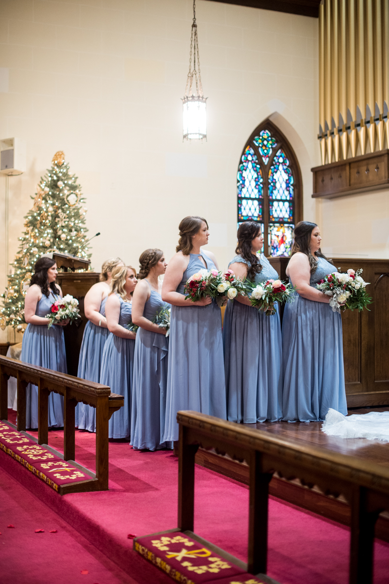 Burgundy and Pale Blue Winter Wedding | Wedding ceremony bridal party