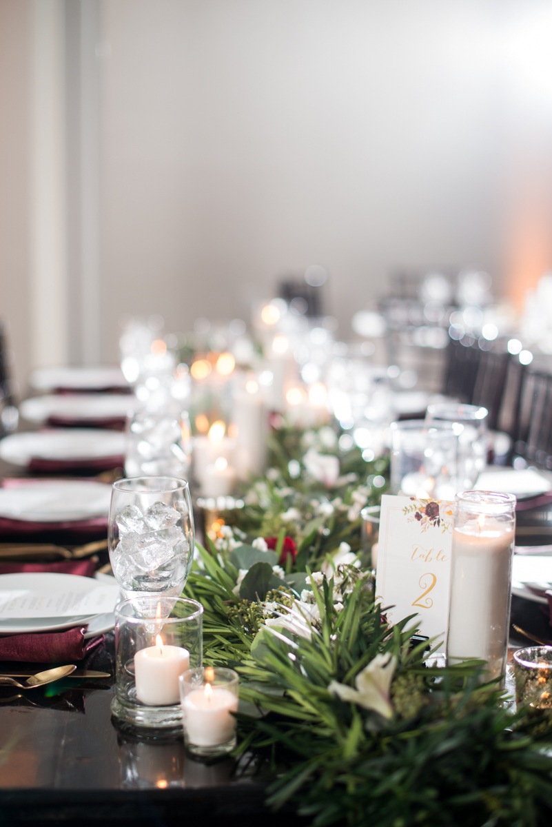 Burgundy and Pale Blue Winter Wedding | Burgundy and white winter wedding reception
