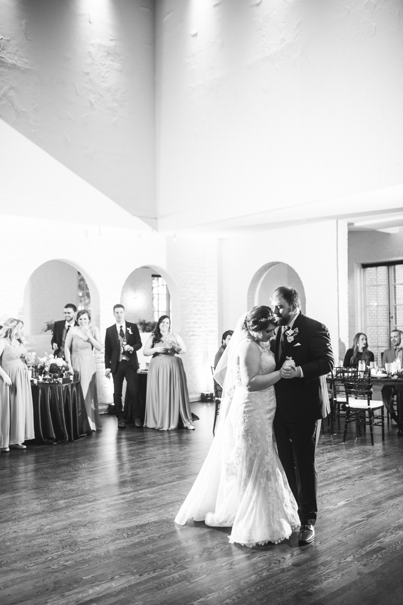 Burgundy and Pale Blue Winter Wedding | Bride and groom first dance