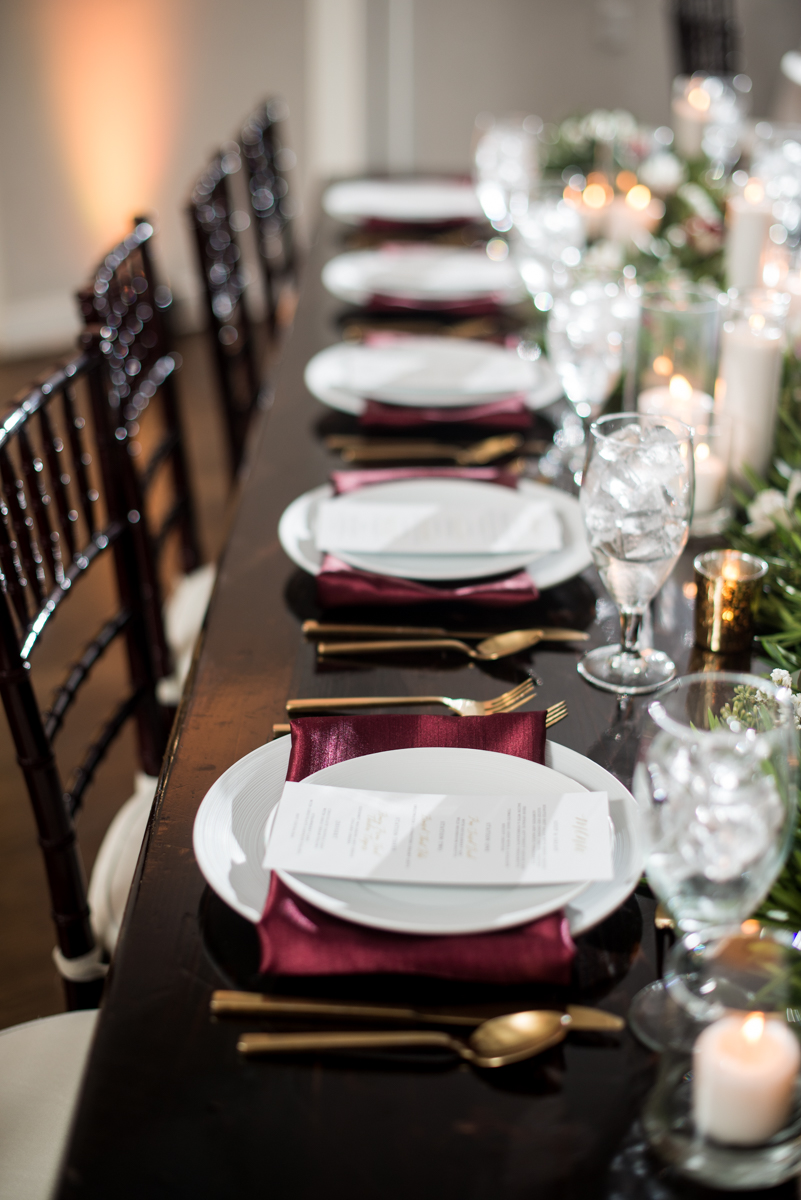Burgundy and Pale Blue Winter Wedding | Burgundy and white winter wedding reception place settings