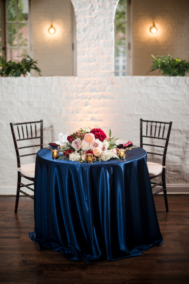Burgundy and Pale Blue Winter Wedding | Burgundy and navy winter wedding reception