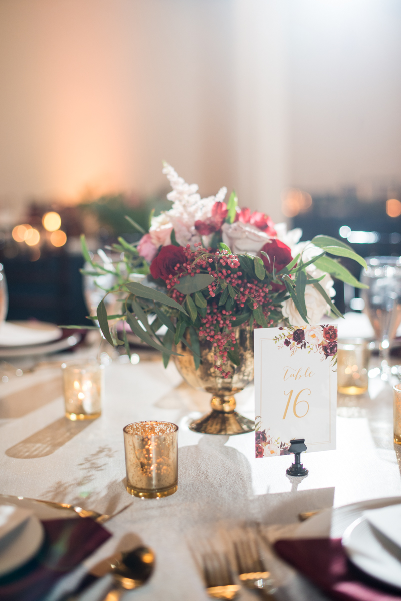 Burgundy and Pale Blue Winter Wedding | Burgundy and white winter wedding reception centerpiece