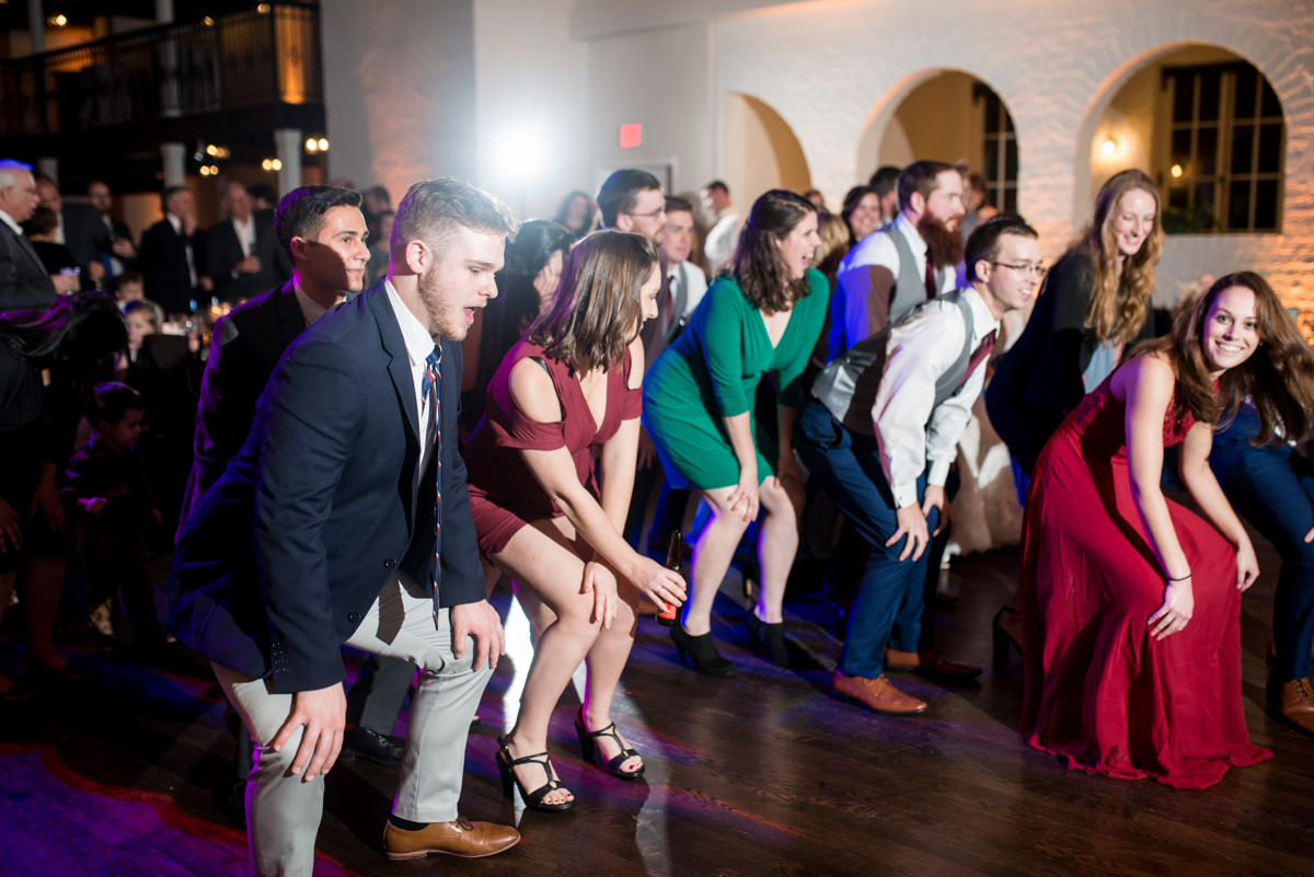 Burgundy and Pale Blue Winter Wedding | Wedding reception dancing