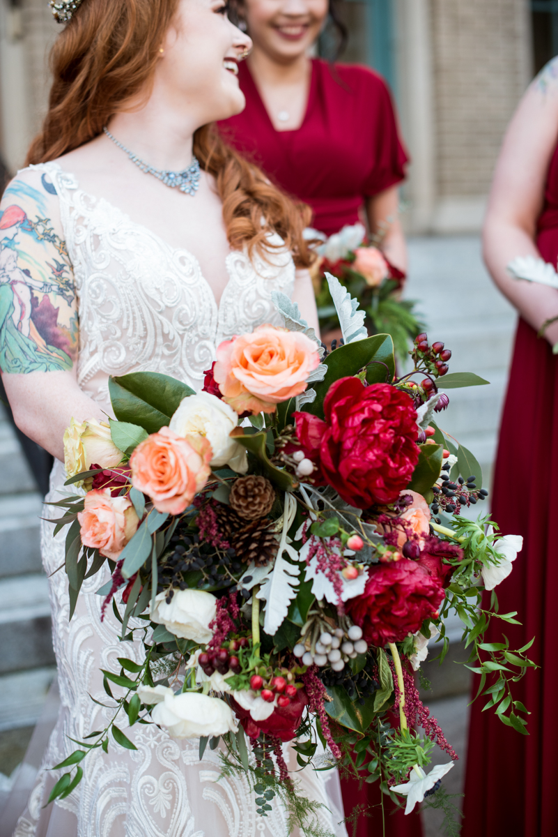Lush Winter Wedding with Red and Gray | Cascading Winter Bouquet