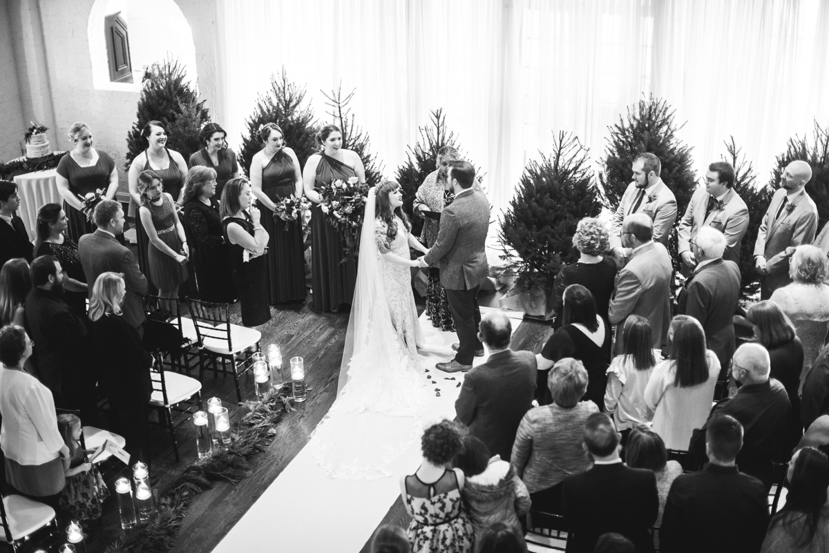 Lush Winter Wedding with Red and Gray | Indoor Winter Wedding Ceremony