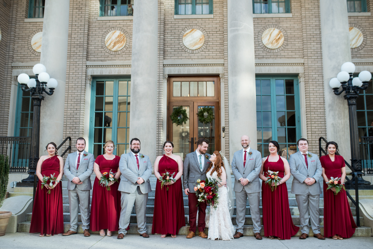 Lush Winter Wedding with Red and Gray | Cranberry and Gray Bridal Party