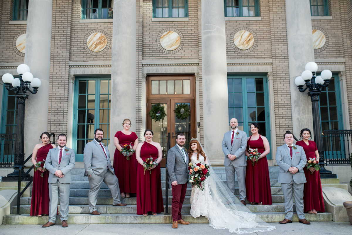 Vintage Winter Wedding with Red and Gray | Cranberry and Gray Bridal Party