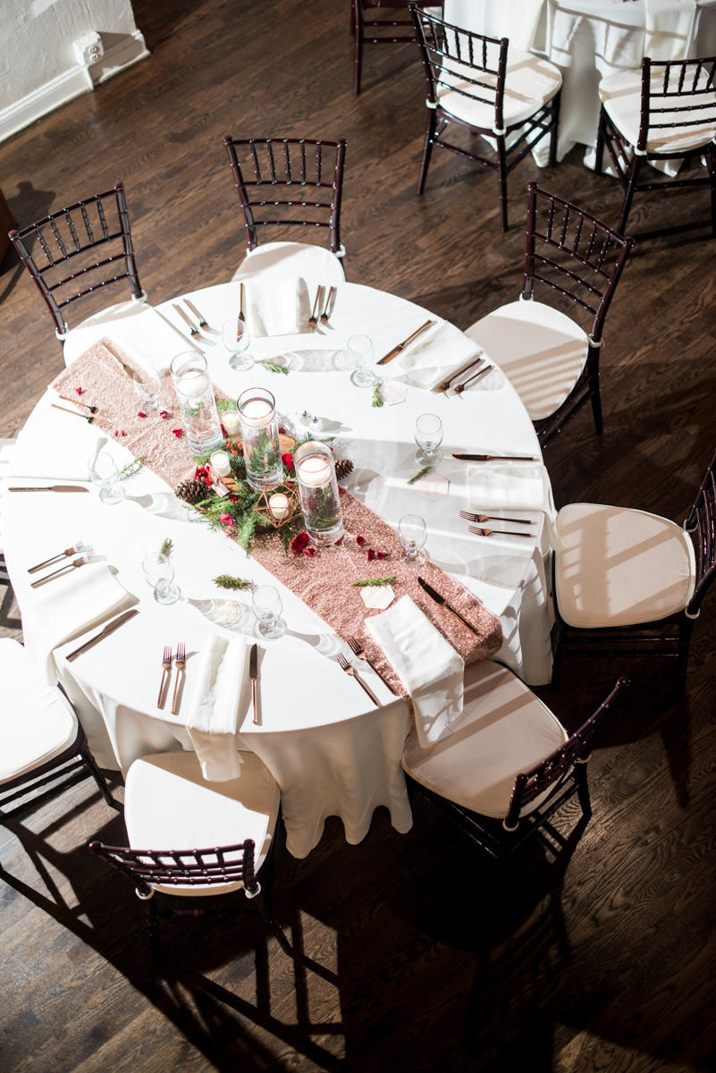 Vintage Winter Wedding with Red and Gray | Rose Gold Winter Wedding Reception