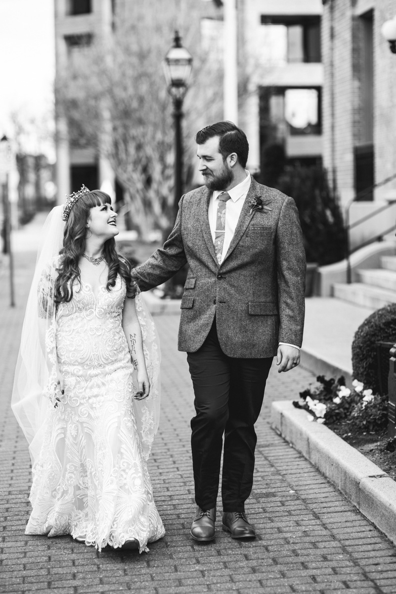 Vintage Winter Wedding with Red and Gray | Bride and Groom Portraits
