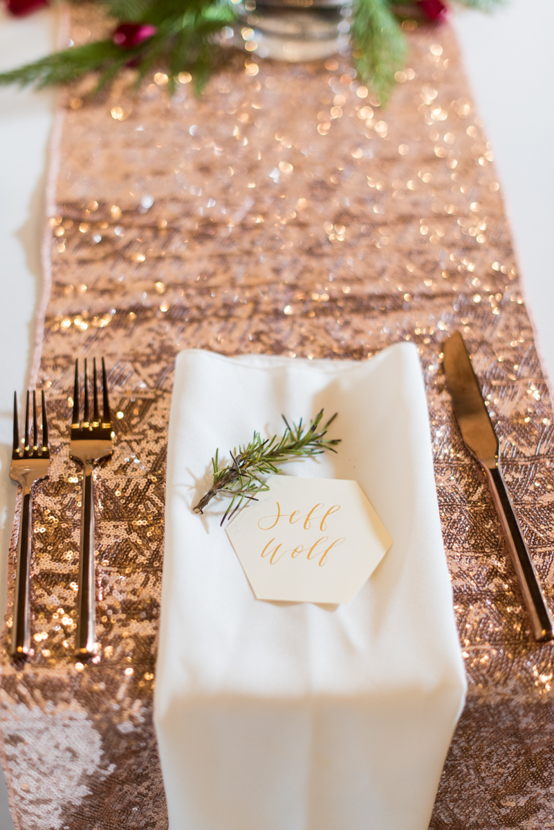 Vintage Winter Wedding with Red and Gray | Rose Gold and Evergreen Winter Place Settings