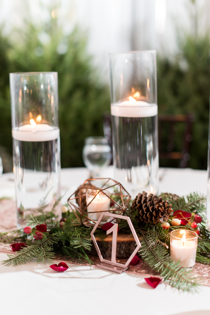 Vintage Winter Wedding with Red and Gray | Geometric Rose Gold and Pine Cone Wedding Reception Centerpieces
