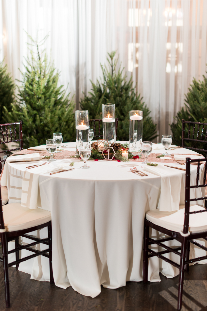 Vintage Winter Wedding with Red and Gray | Pine Cone, Evergreen, and Cranberry Winter Wedding Reception