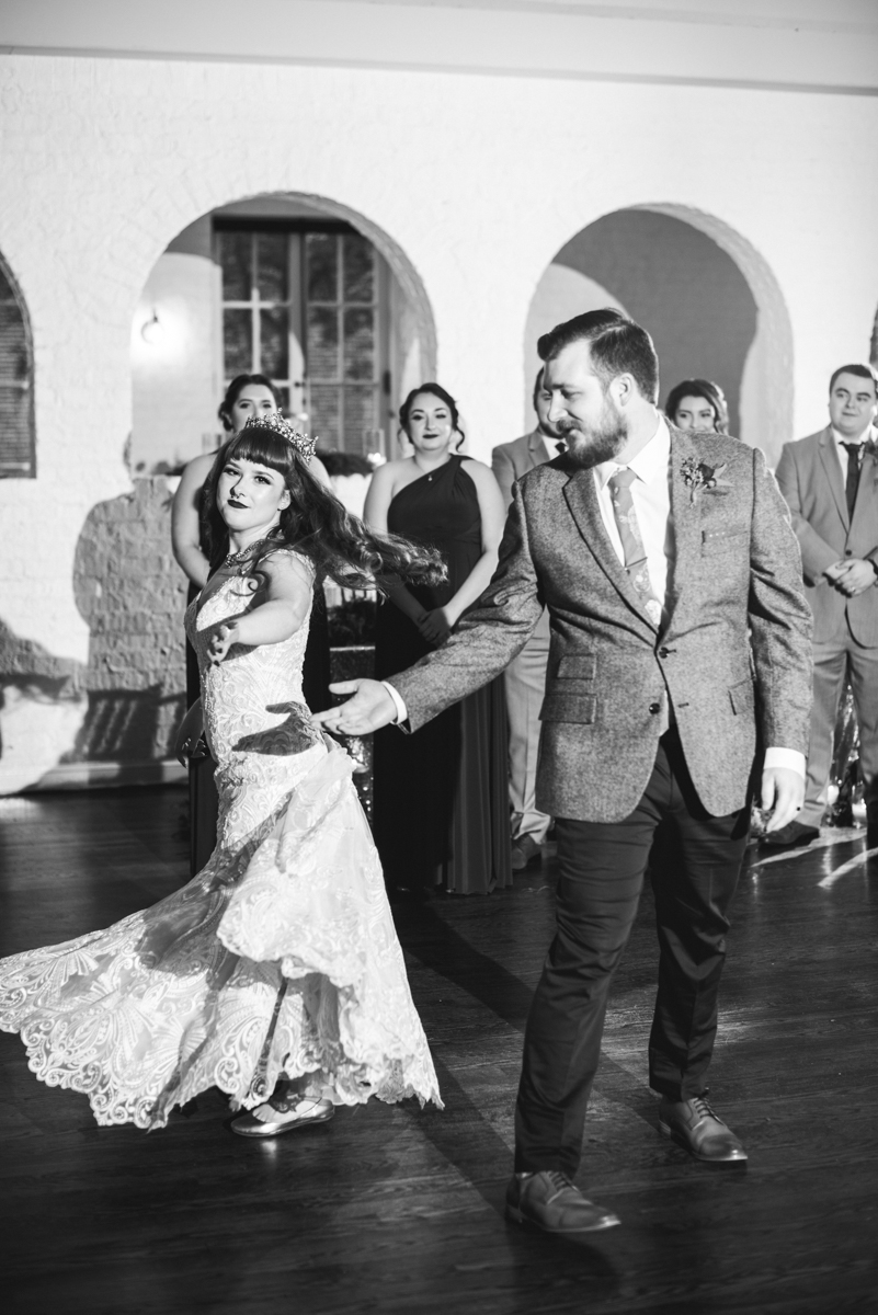 Vintage Winter Wedding with Red and Gray | Wedding Reception Dancing