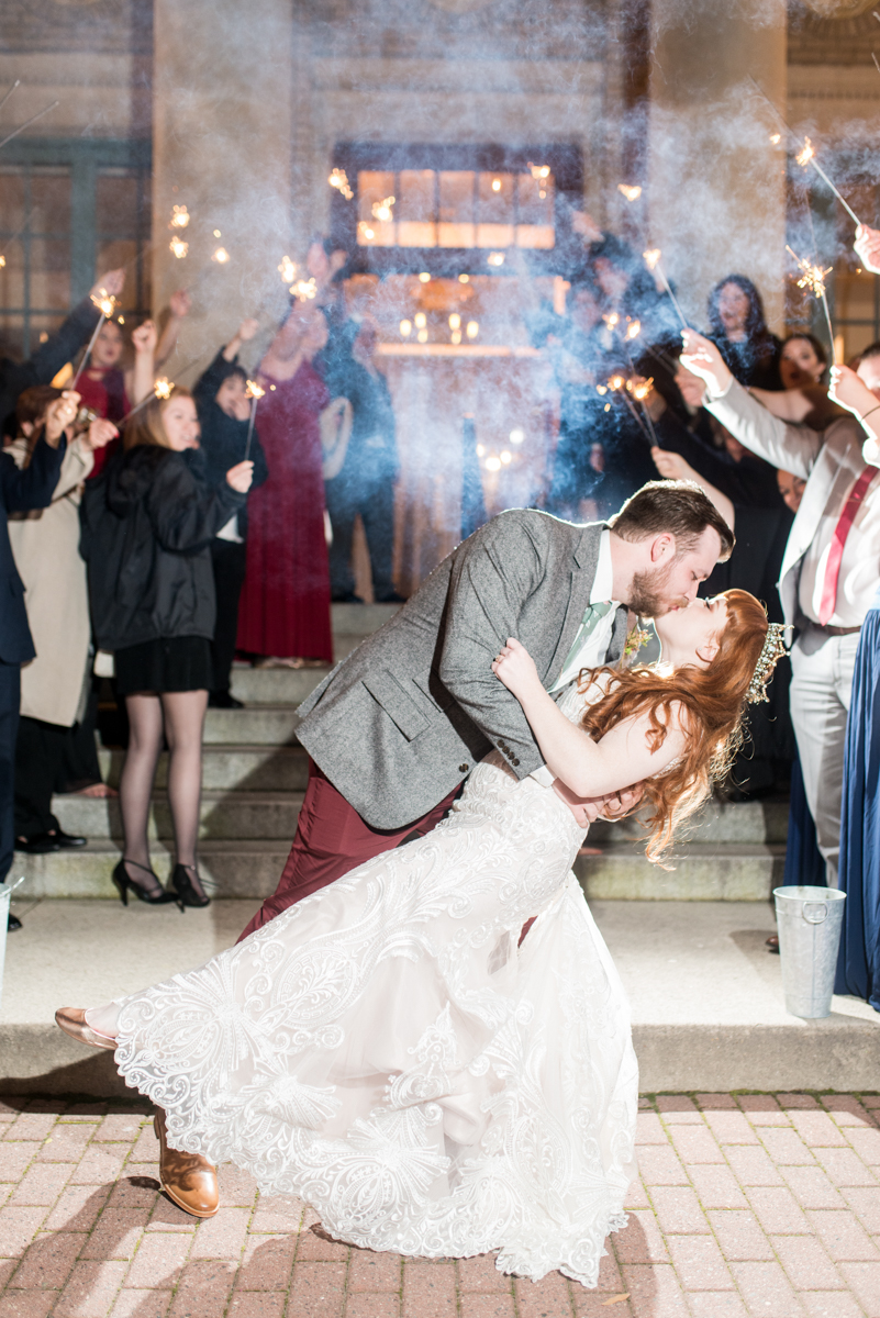 Vintage Winter Wedding with Red and Gray | Sparkler Exit