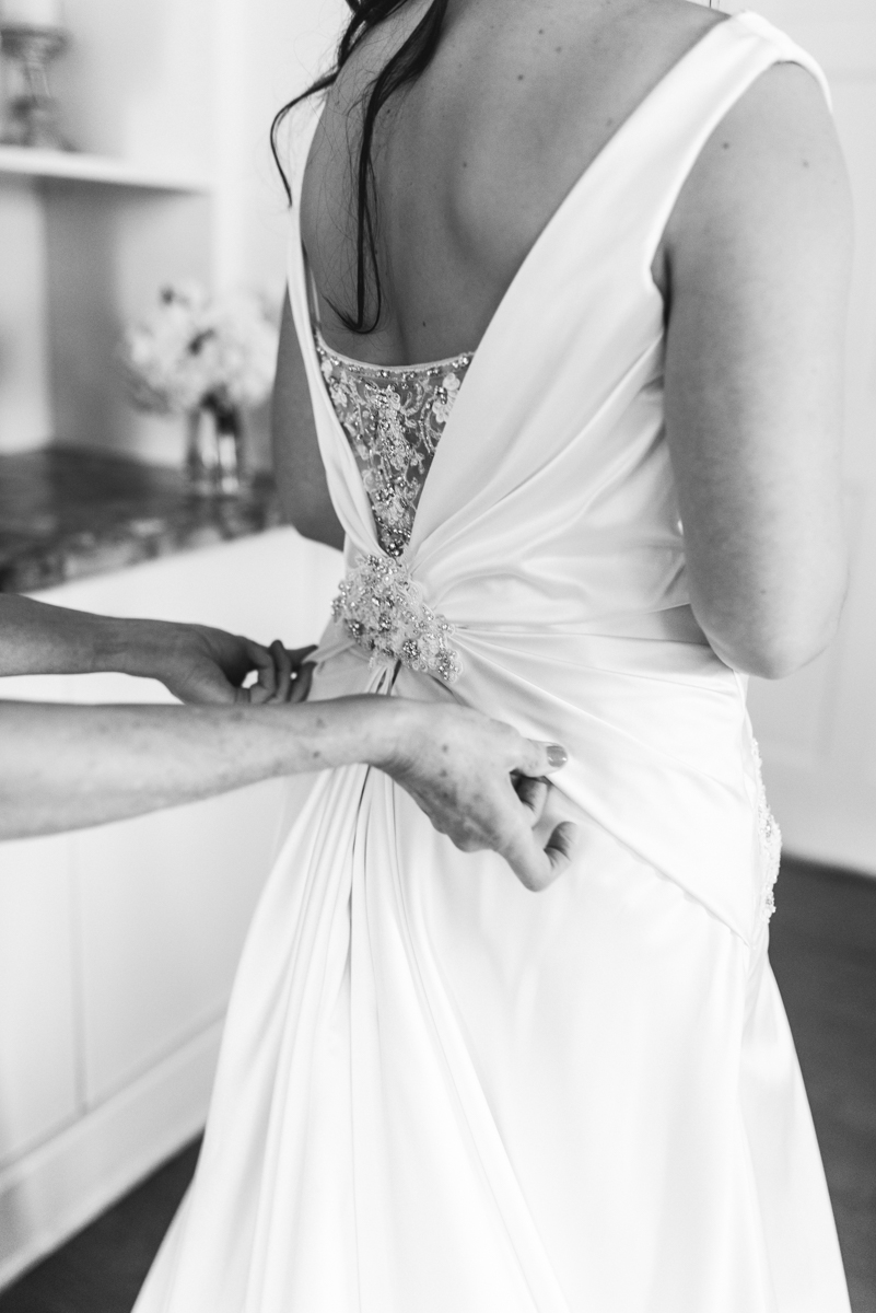 Gray and Blue Spring Wedding | Bride getting ready