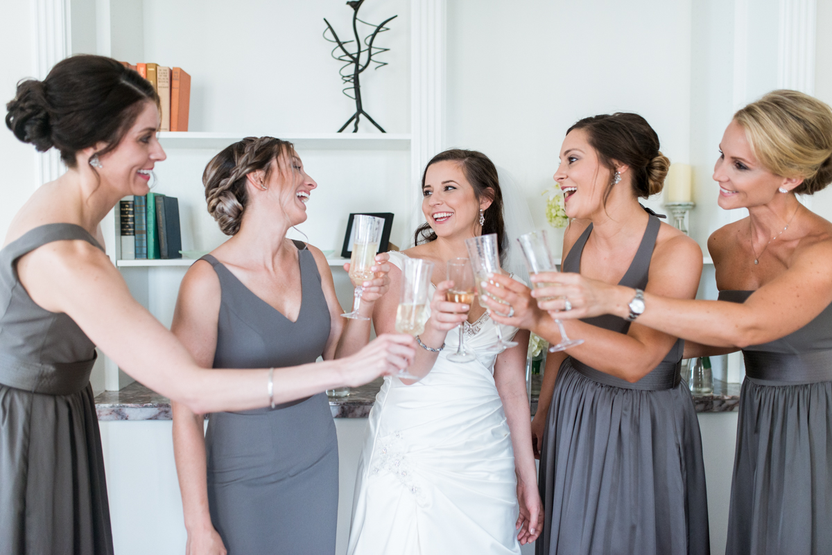 Gray and Blue Spring Wedding | Bridesmaids toasting