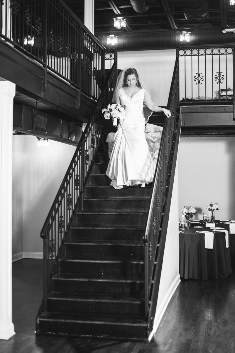 Navy and Gray Spring Wedding | Bride walking down staircase