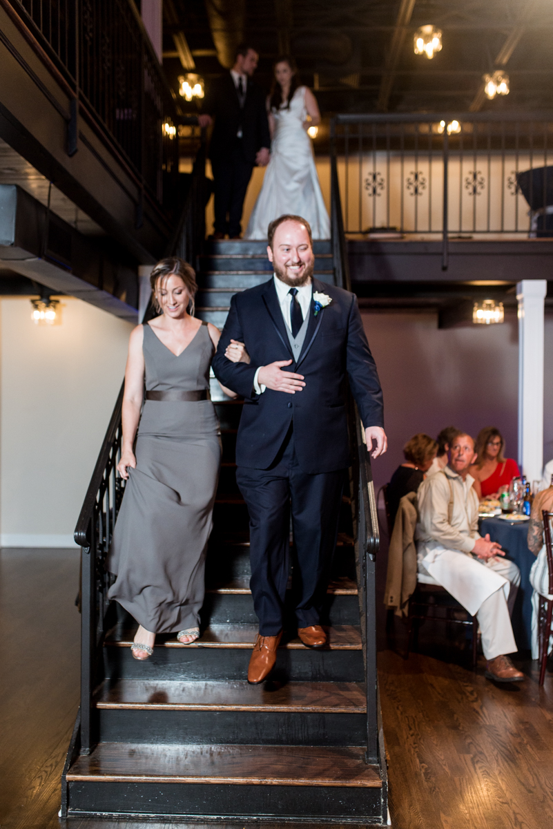Navy and Gray Spring Wedding | Navy Wedding Reception Entrance