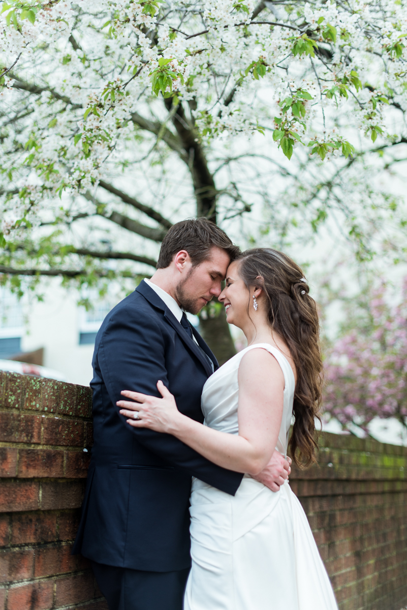 Navy and Gray Spring Wedding | Bride and Groom Sunset Portraits