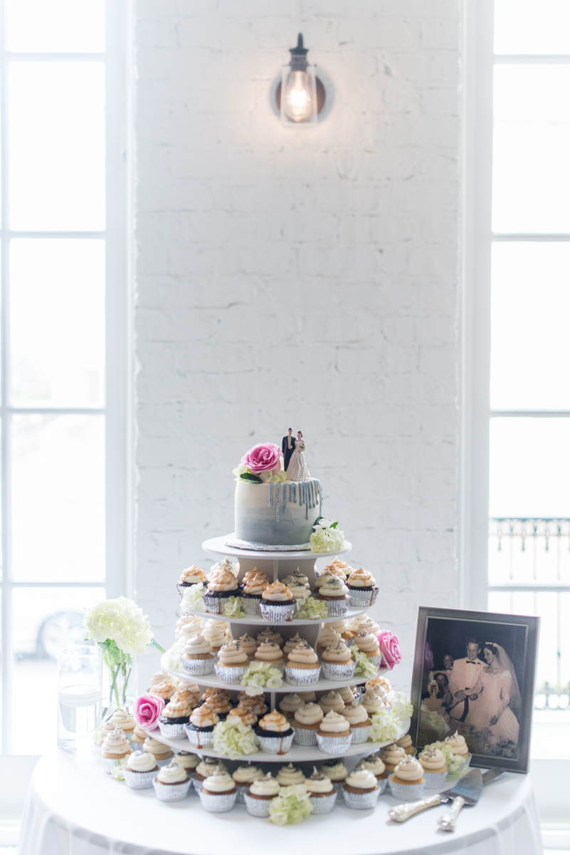 Navy and Gray Spring Wedding | Wedding Cupcake Tower