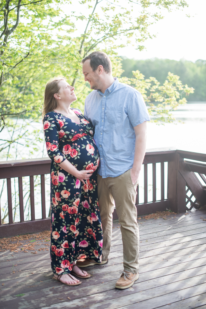 Golden Sunset Maternity Pictures with Flower Maxi Dress