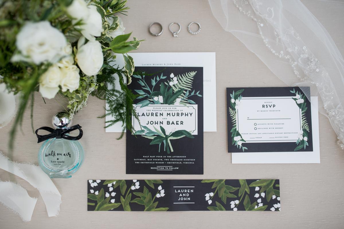 Elegant Summer Wedding in Smithfield, Virginia | Black, green, and white wedding invitations