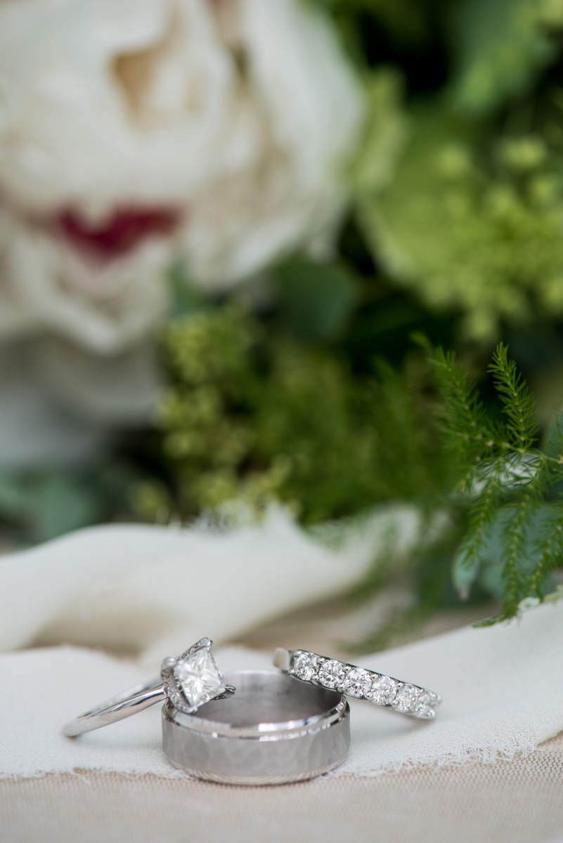 Elegant Summer Wedding in Smithfield, Virginia | Wedding ring pictures with bouquet