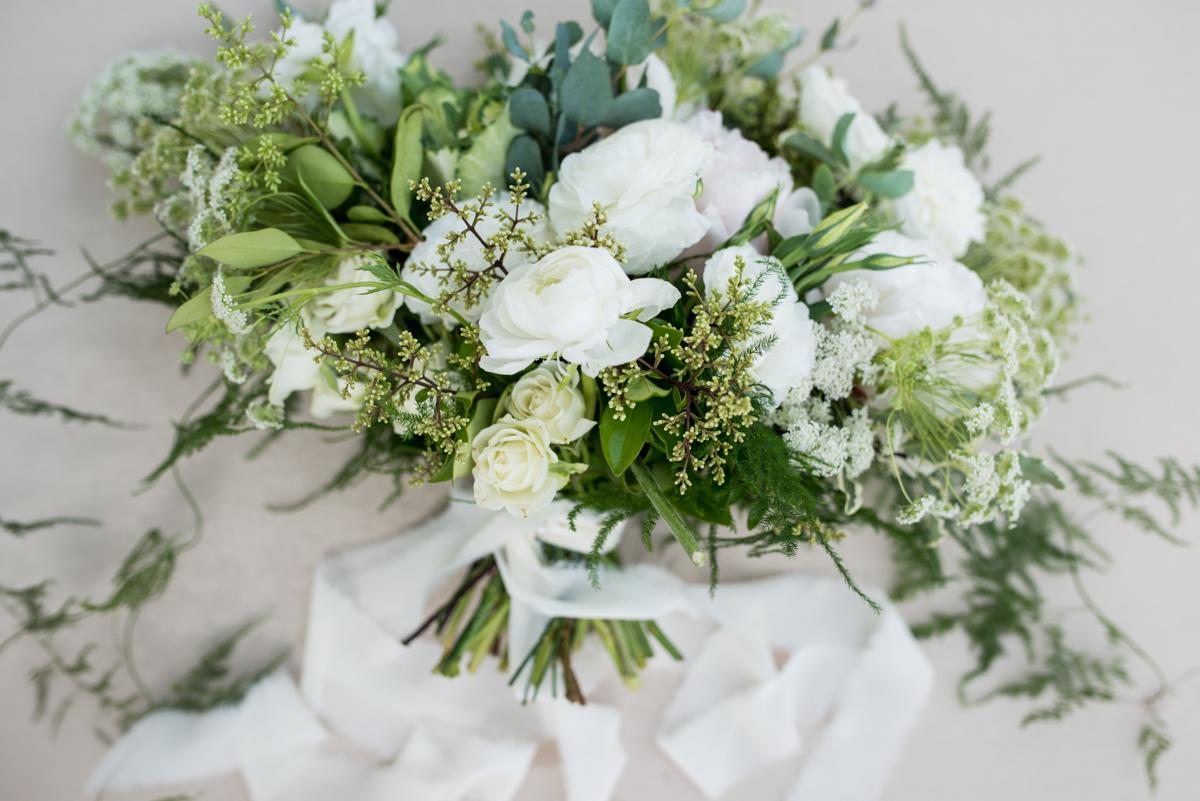 Elegant Summer Wedding in Smithfield, Virginia | White and Green Bridal Bouquet