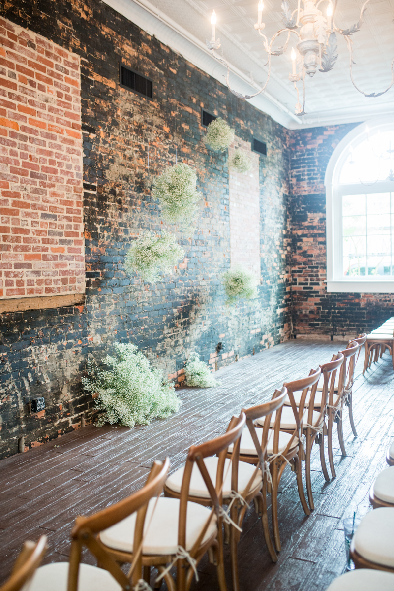 Elegant Summer Wedding in Smithfield, Virginia | Wedding ceremony with hanging florals