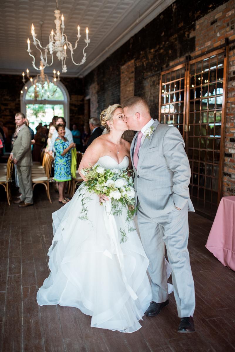 Elegant Summer Wedding in Smithfield, Virginia | Wedding ceremony kiss