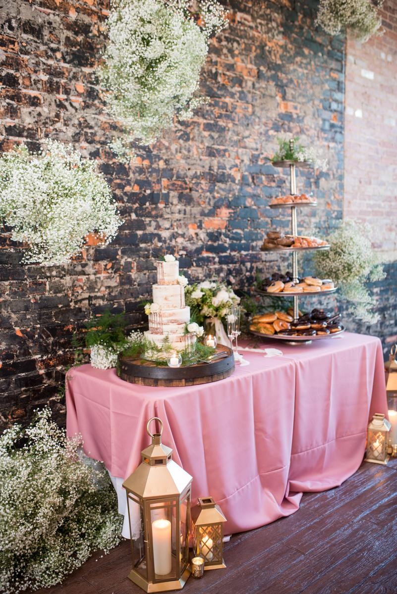 Elegant Summer Wedding in Smithfield, Virginia | Pink dessert table with hanging florals