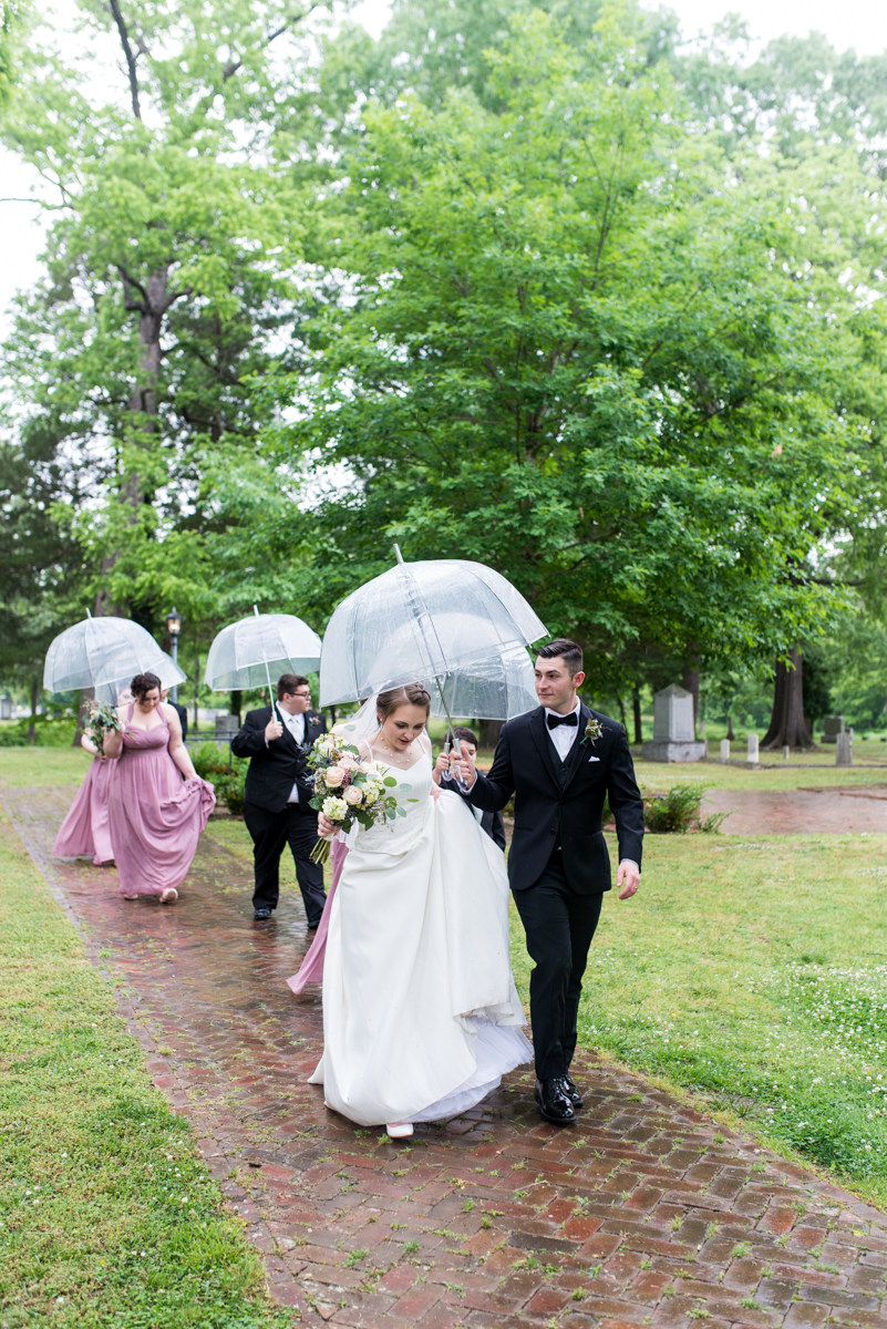 Intimate Summer Micro Wedding | Bridal party in the rain