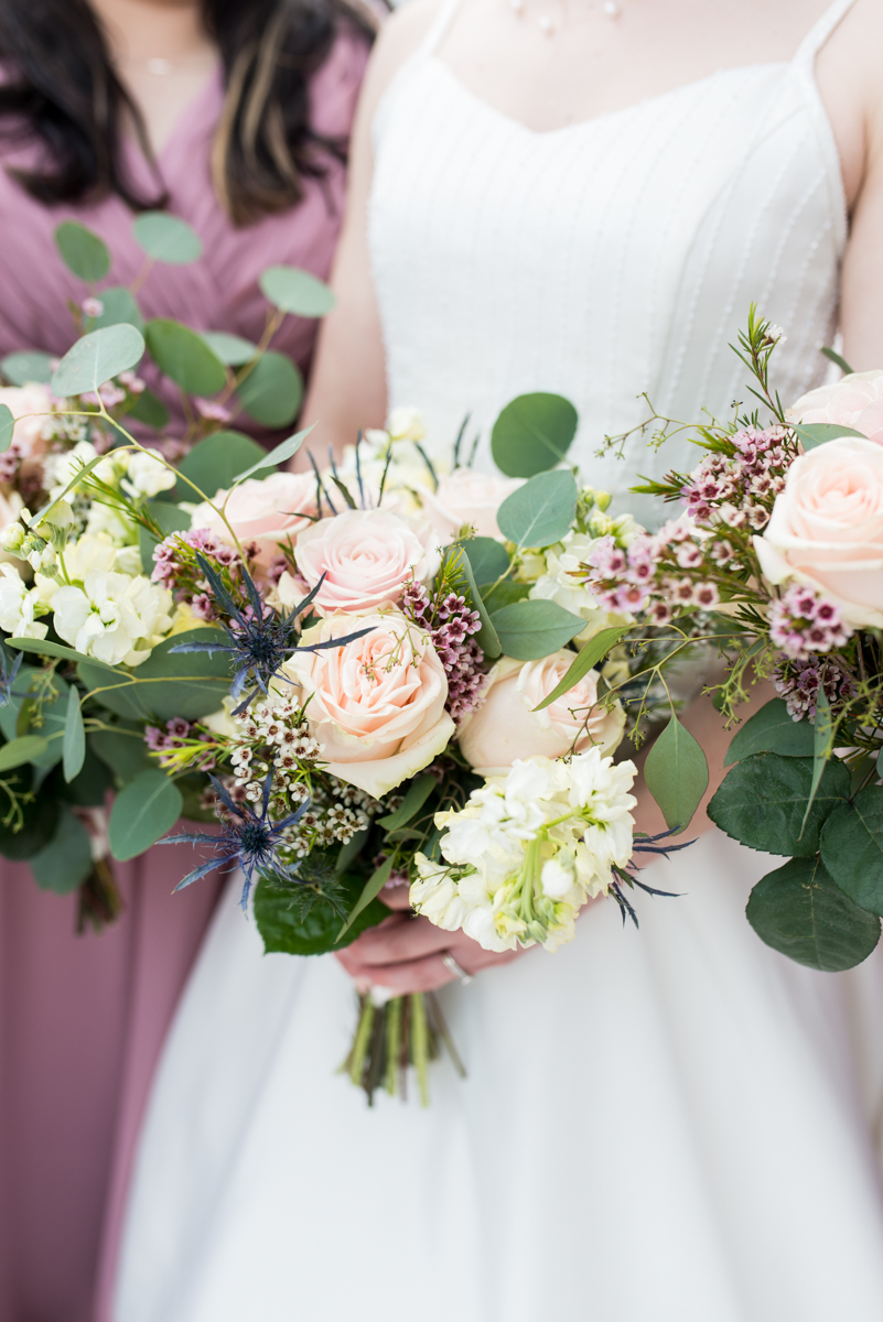 Intimate Summer Micro Wedding | Blush rose and eucalyptus bridal bouquet