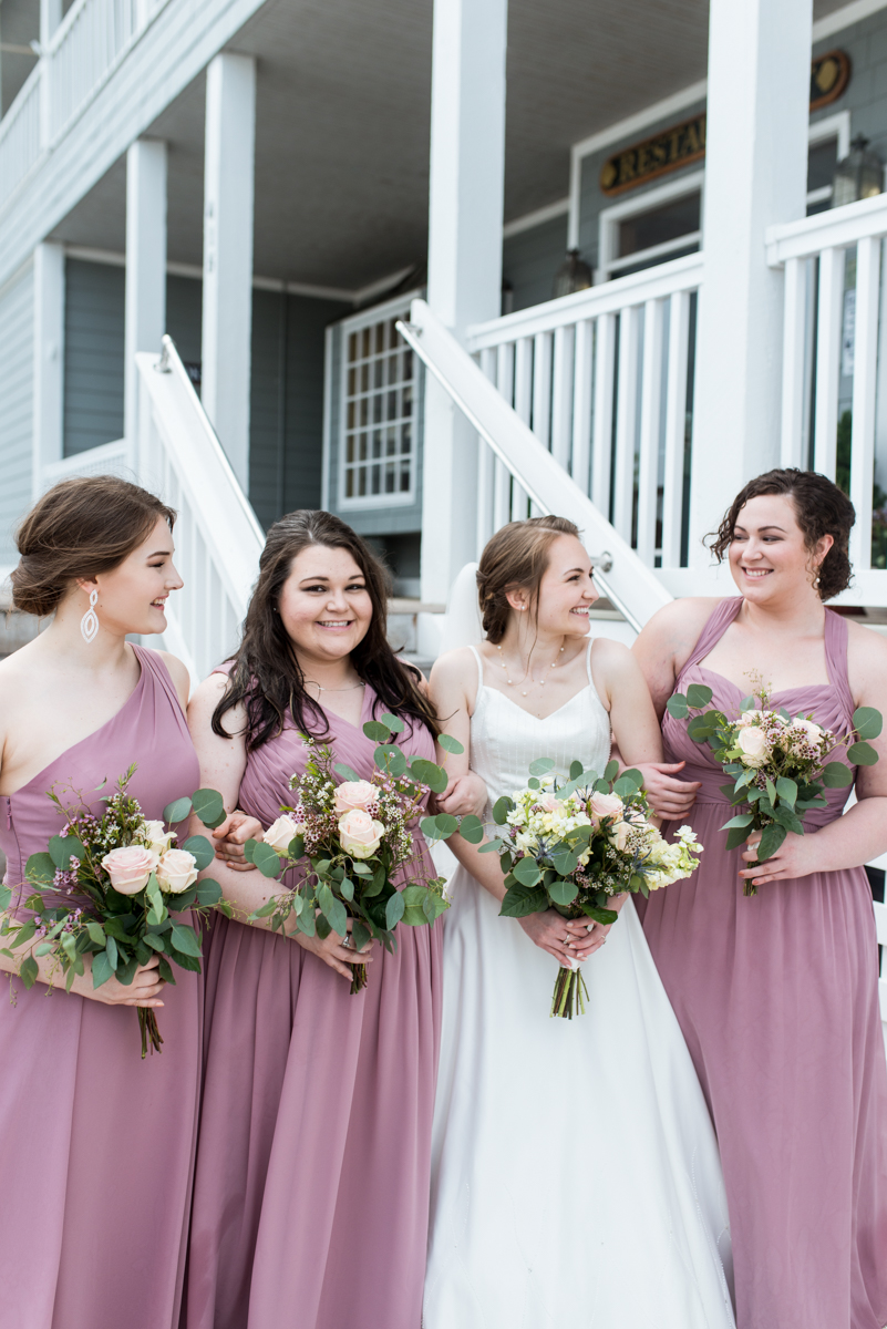 Intimate Summer Micro Wedding | Dusty mauve bridesmaids
