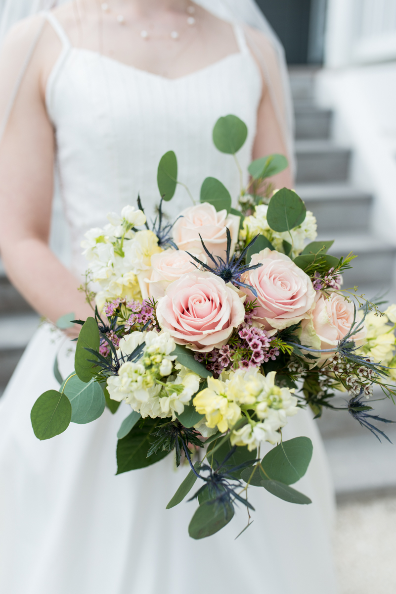 Intimate Summer Micro Wedding | Pink rose and eucalyptus wedding bouquet