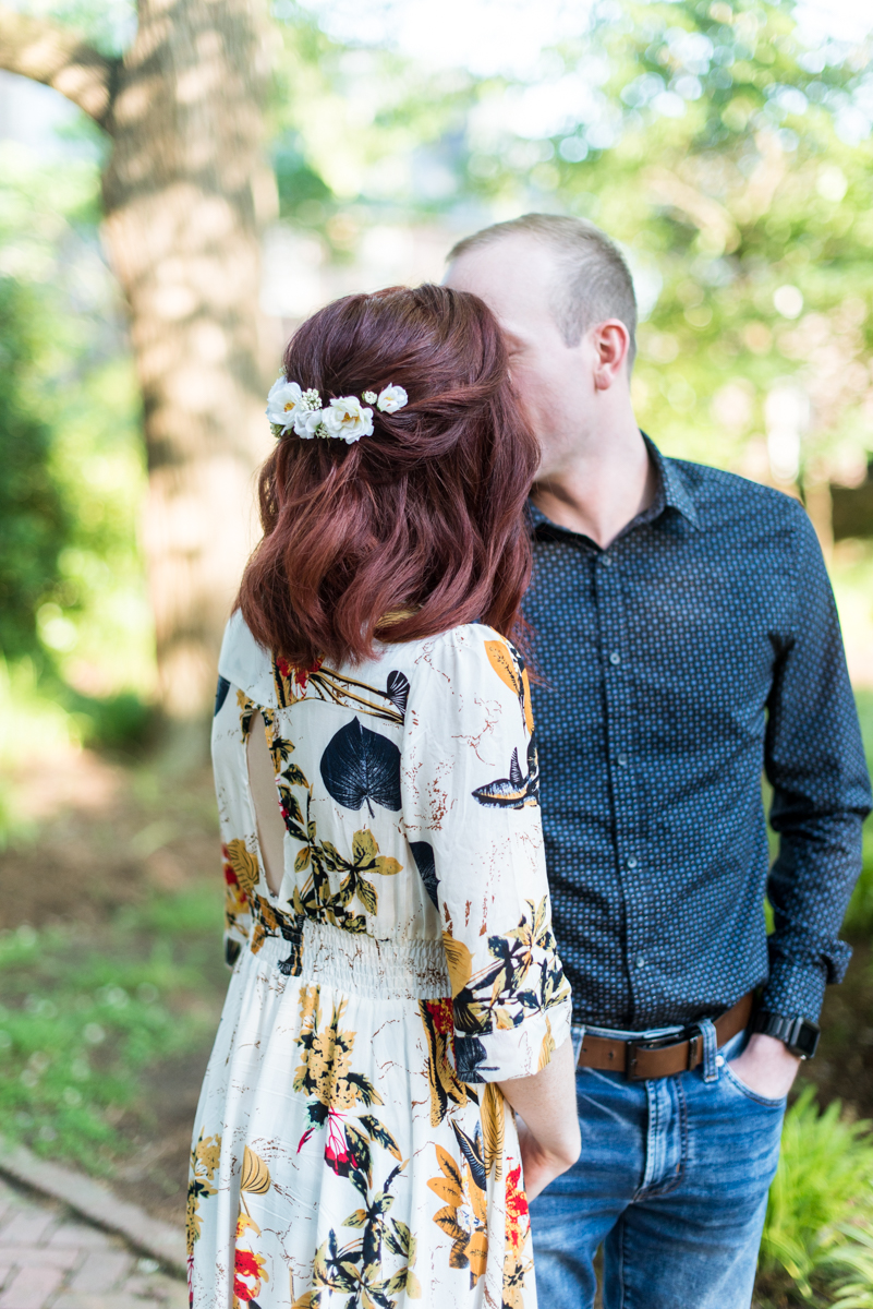 Engagement Pictures in Downtown Williamsburg with Bride wearing Flower Comb