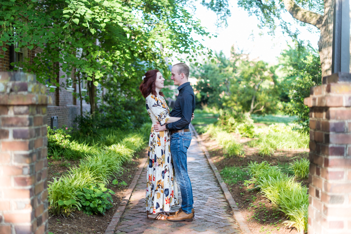 Engagement Pictures in Downtown Williamsburg with Tattooed Bride